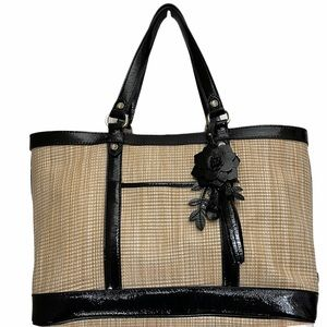 ColeHaan Straw Purse With Black Leather Trim